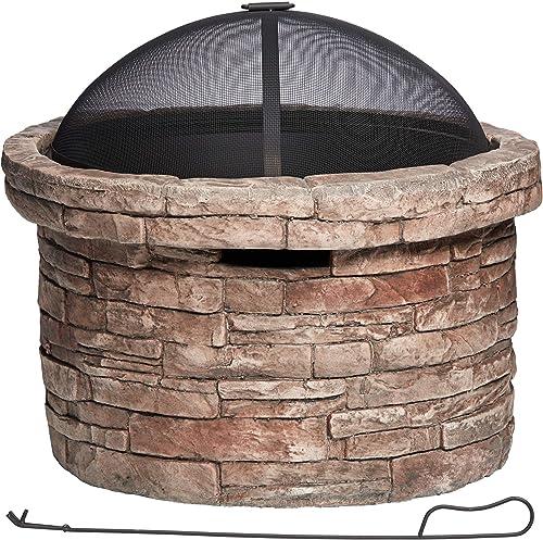 John Timberland Breckenridge 26″ W Faux Stone Wood Burning Outdoor Fire Pit