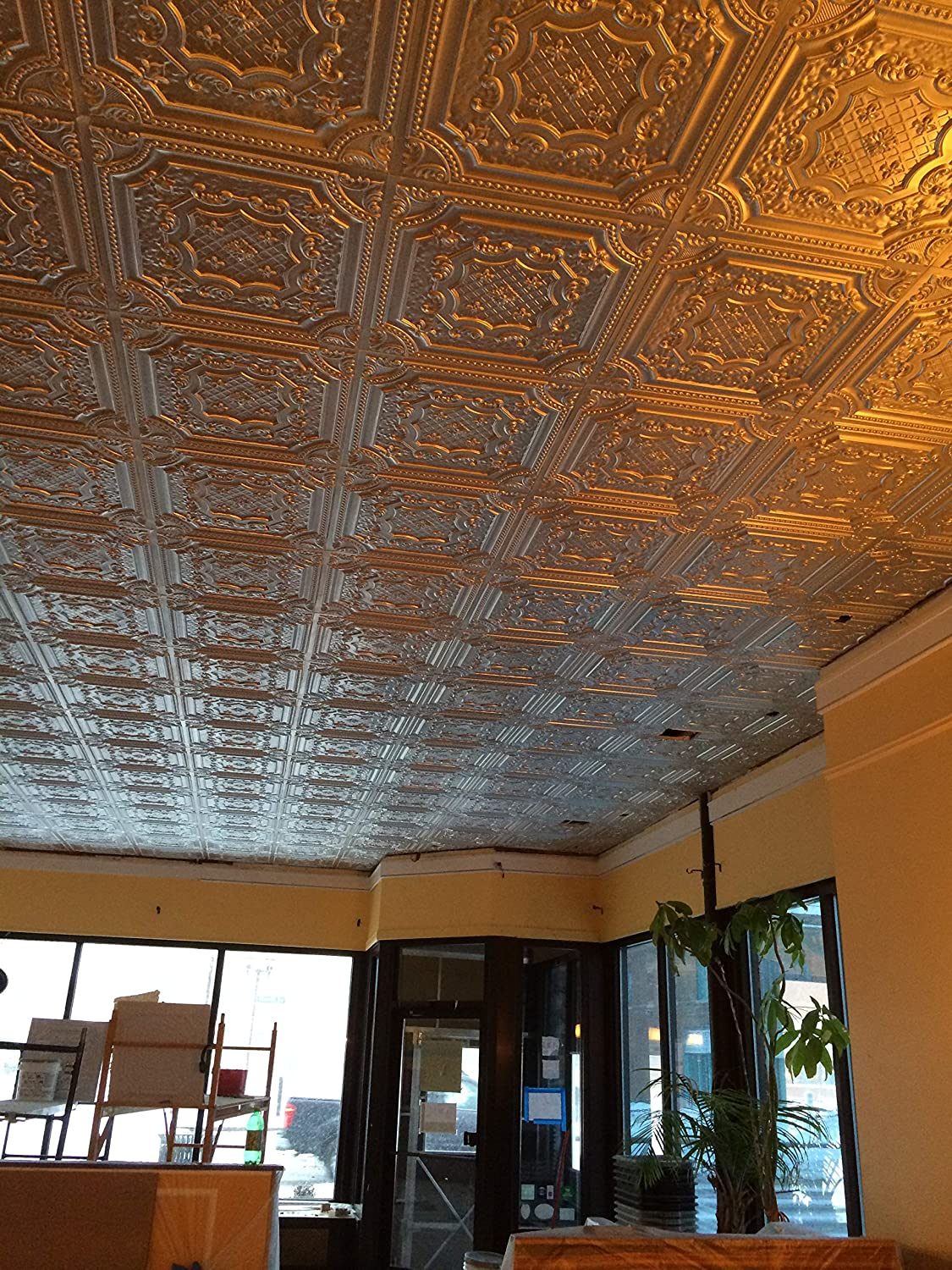 From Plain To Beautiful In Hours DCT10pa-24x24 Milan Ceiling Tile Patina