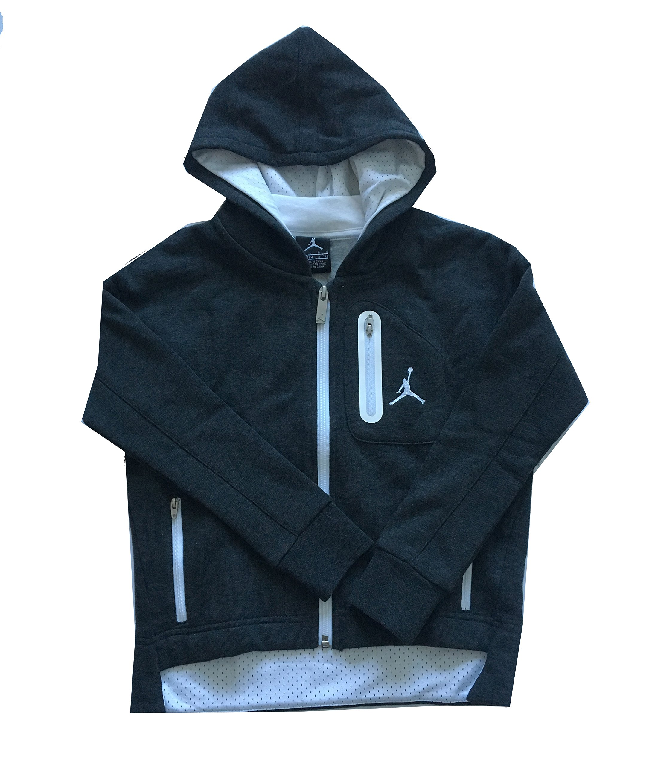 Air Jordan Little Girls Hoodie Black Heather/White Size 5