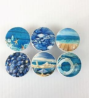 Set Of 6 Deep Blue Beach Print Cabinet Knobs