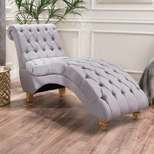 Christopher Knight Home 300334 Bellanca Fabric Tufted Chaise Lounge Chair Light Grey