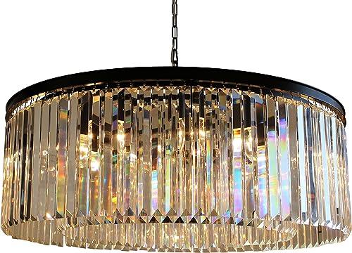 D'Angelo 12 Light Round Clear Glass Fringe Prism Chandelier