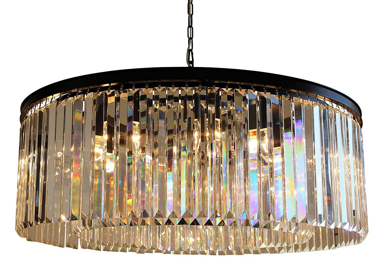 Dangelo 12 light round clear glass fringe prism chandelier dangelo 12 light round clear glass fringe prism chandelier amazon arubaitofo Image collections