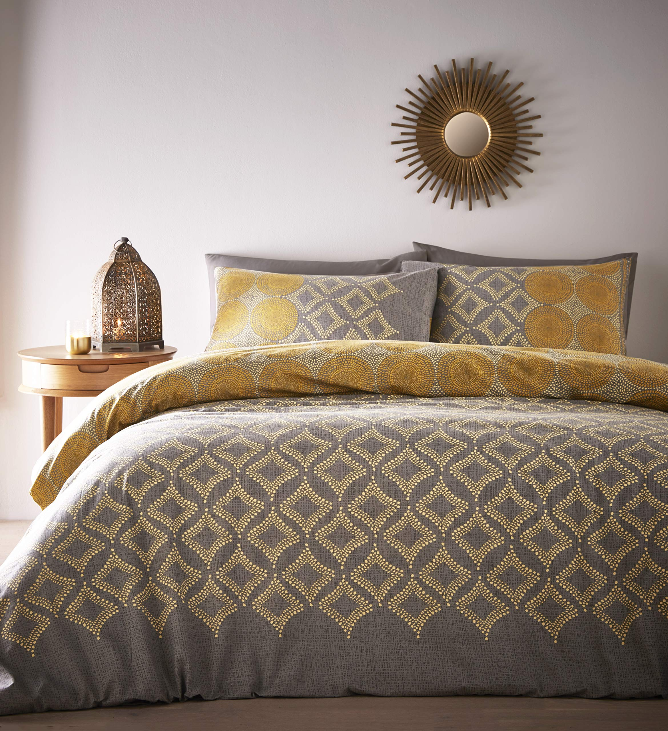Portfolio Joel Quilt Duvet Cover Bed Set, Ochre, Super King