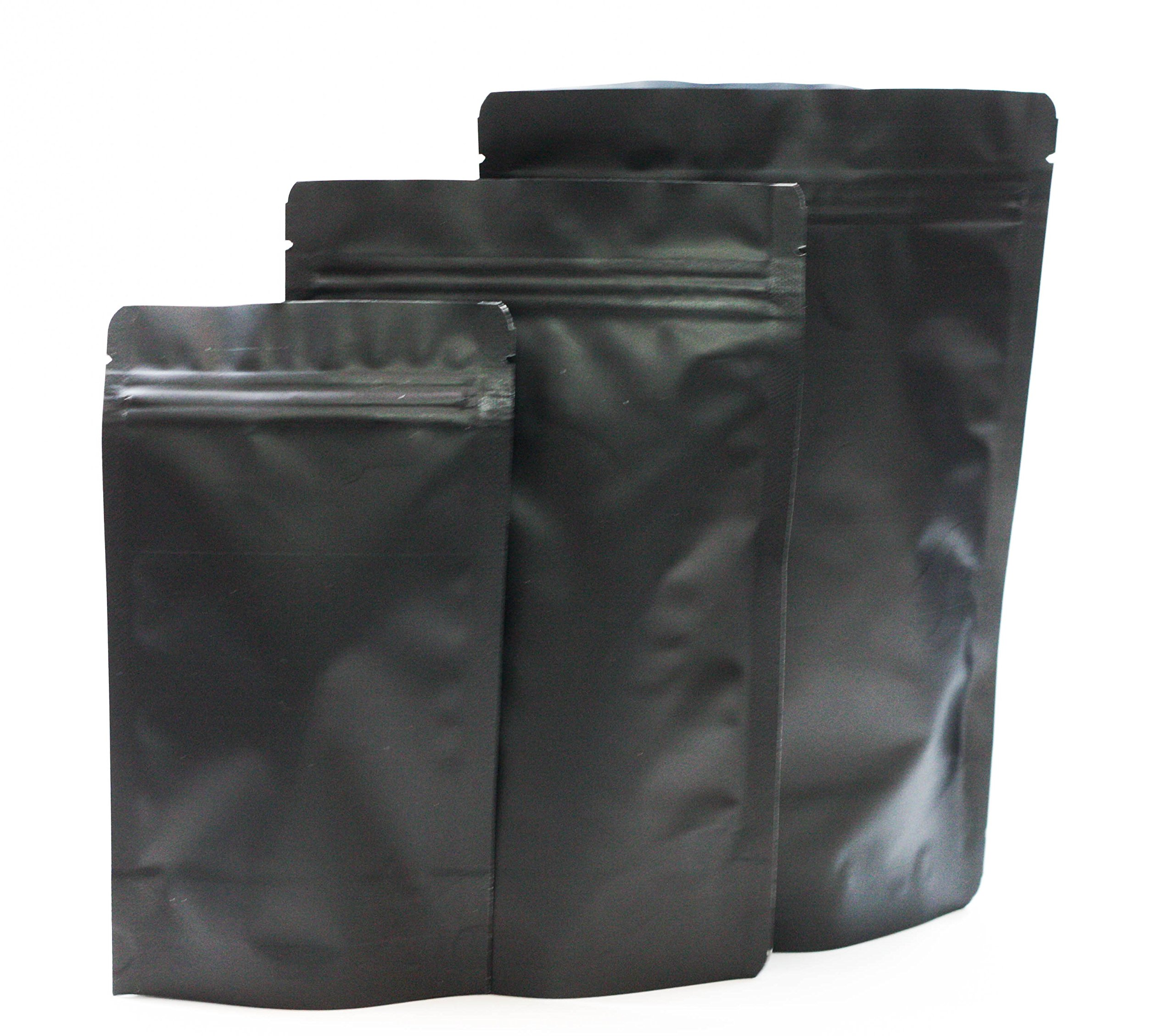 Assorted Sizes Matte Black 5.5 MIL Stand Up Airtight Zipper Pouches Smell Leak Proof Food Herb Coffee Protein Powder Storage Bags (750, S(250)+M(250)+L(250)) by PackMan Packaging