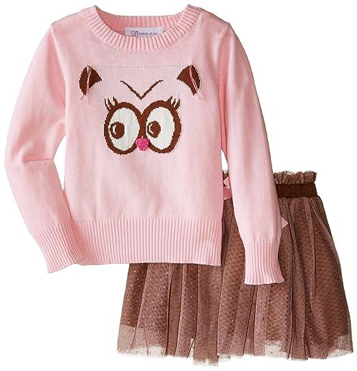 6df1d0362cec Amazon.com  Bonnie Jean Girls  Owl Instarsia Sweater Skirt Set  Clothing