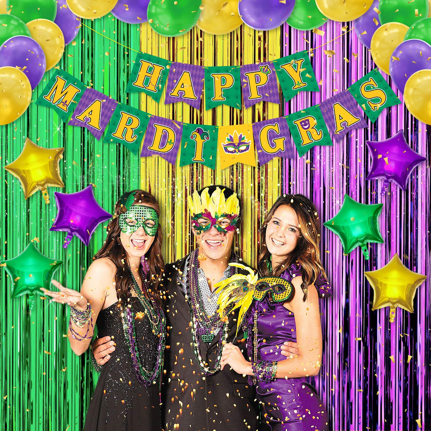 Mardi Gras Party Decorations Set Happy Mardi Gras Banner Green Gold Purple Foil Fringe Curtains Backdrop Star Foil Party Balloons for Mardi Gras Theme Masquerade Party Birthday Baby Shower Supplies New Orleans Carnival Favors