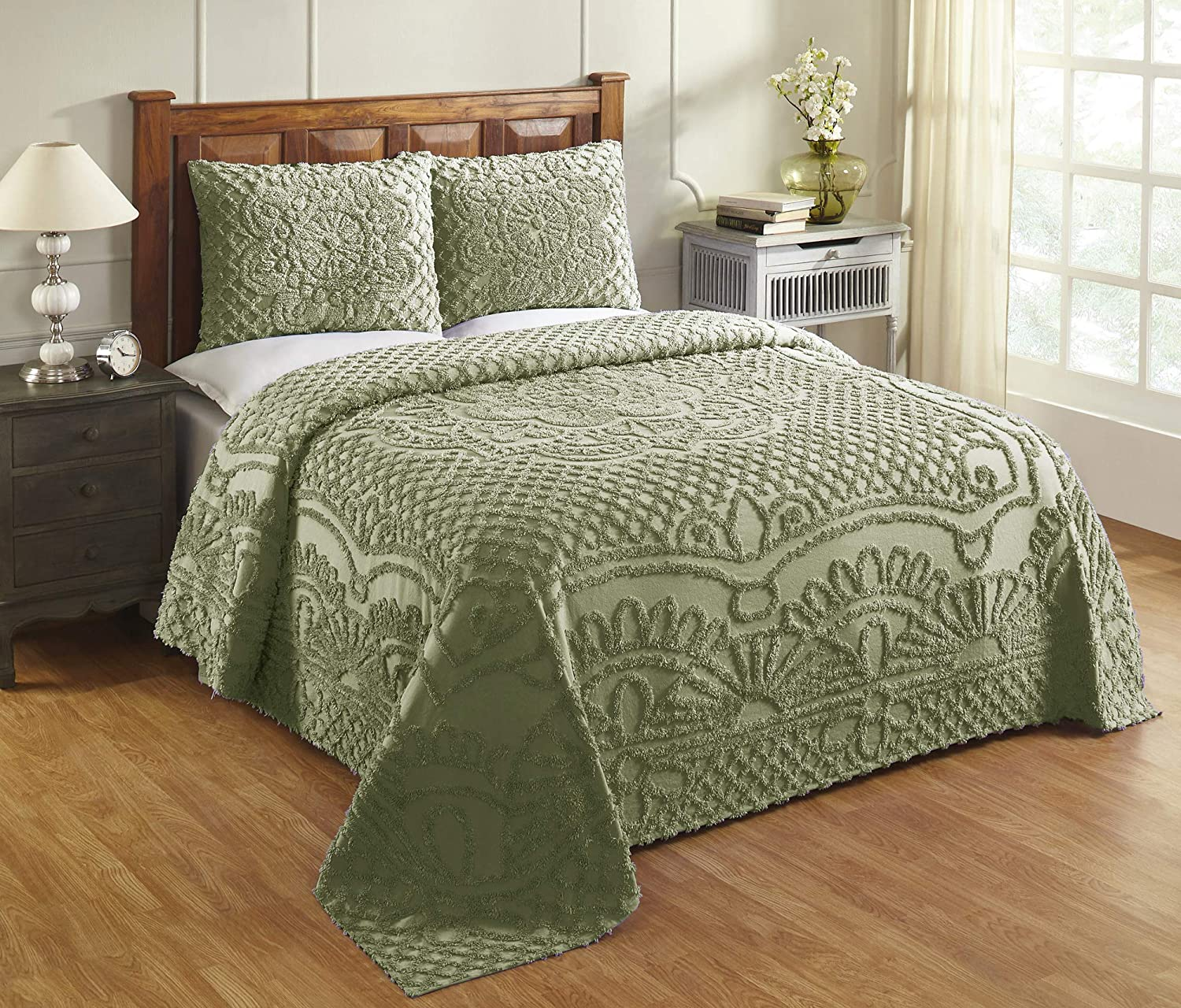 Better Trends Trevor Collection in Geometric Design 100% Cotton Tufted Chenille, King Bedspread Set, Sage
