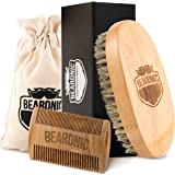Beardnic Beard Brush & Beard Comb Kit by All-Natural Handmade Set with Beautiful Cotton Travel Pouch and Magnetic Gift Box | Sturdy Boar Bristles for Facial Hair Grooming