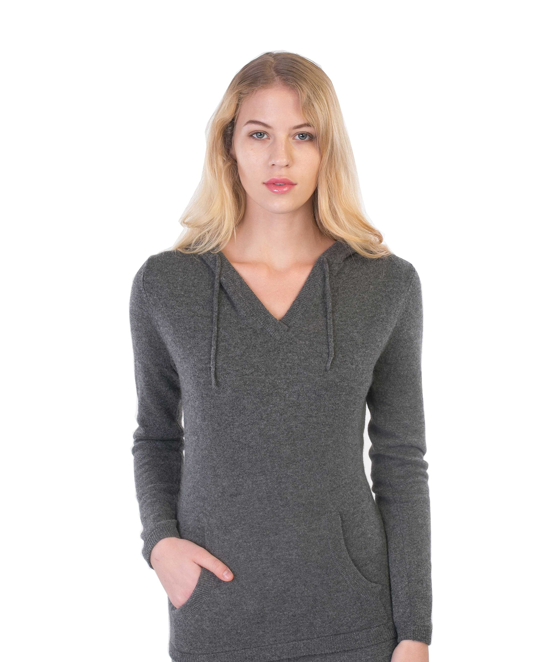 cashmere 4 U Women's 100% Cashmere V Neck Hoodie Sweater Pullover (X-Large, Gris Moyen)