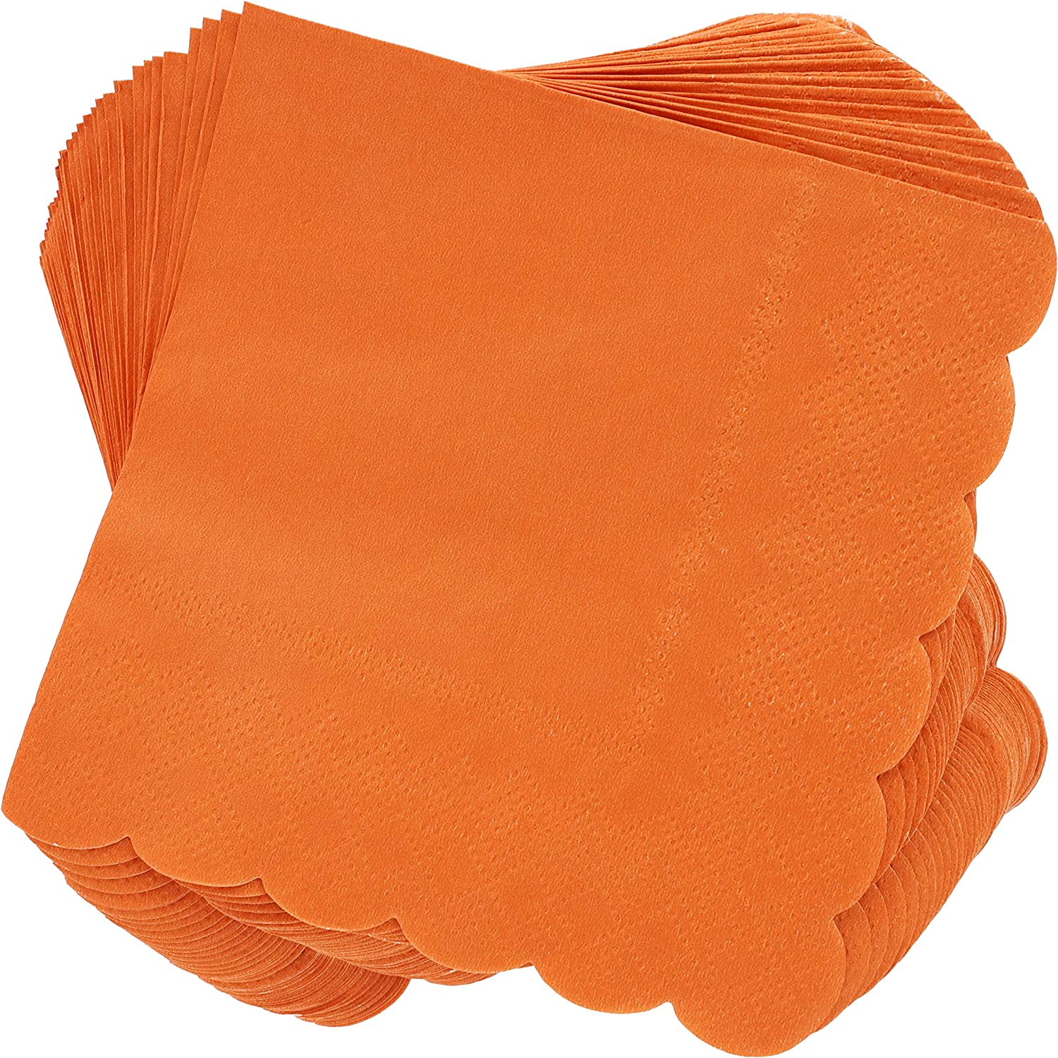 Scalloped Edged Cocktail Napkins (5 x 5 In, Orange, 100-Pack)