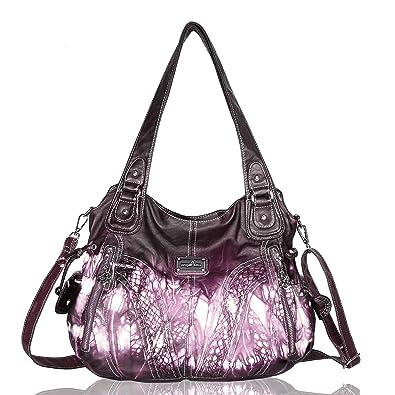 Angelkiss Handbags for Women Top-Handle Satchel Shoulder Bag Messenger Tote  Washed Leather Purses Bag 9adbd2d425d55