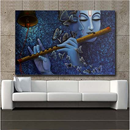 Buy Total Home Sky Blue Color Printed Wallpaper Of Shri Krishna Wall