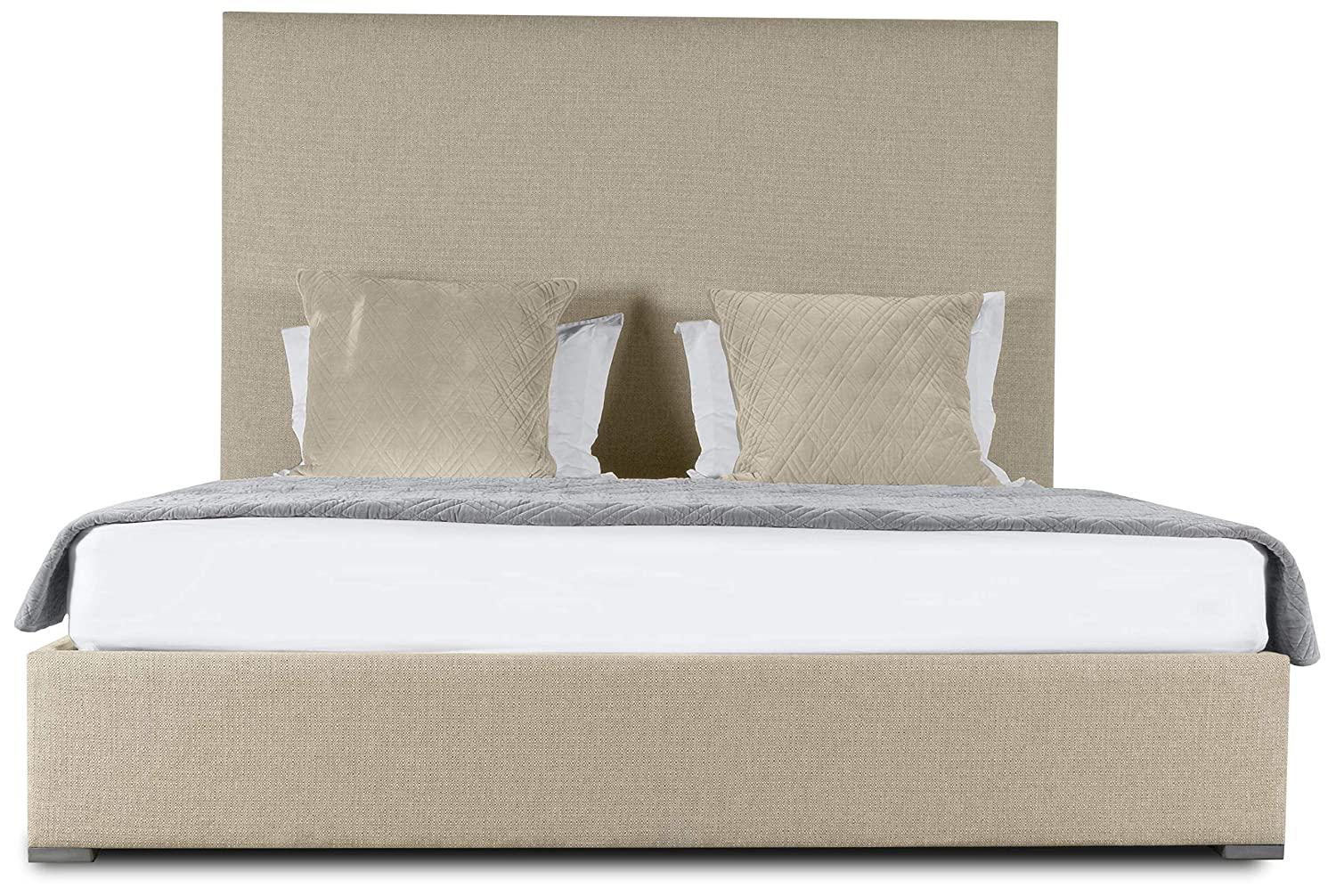 Amazon.com: South Cone Home AUDBEDPLMIDQN/WHT Audrey Plain Upholstery Bed, Queen, White: Kitchen & Dining