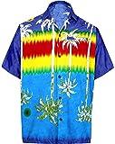 La Leela Hawaiian Shirt For Men Short Sleeve Front-Pocket Beach Palm Trees