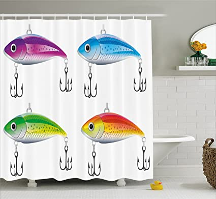 Ambesonne Fishing Decor Shower Curtain Collection Of Lures In Trout Shape Trap For Sea
