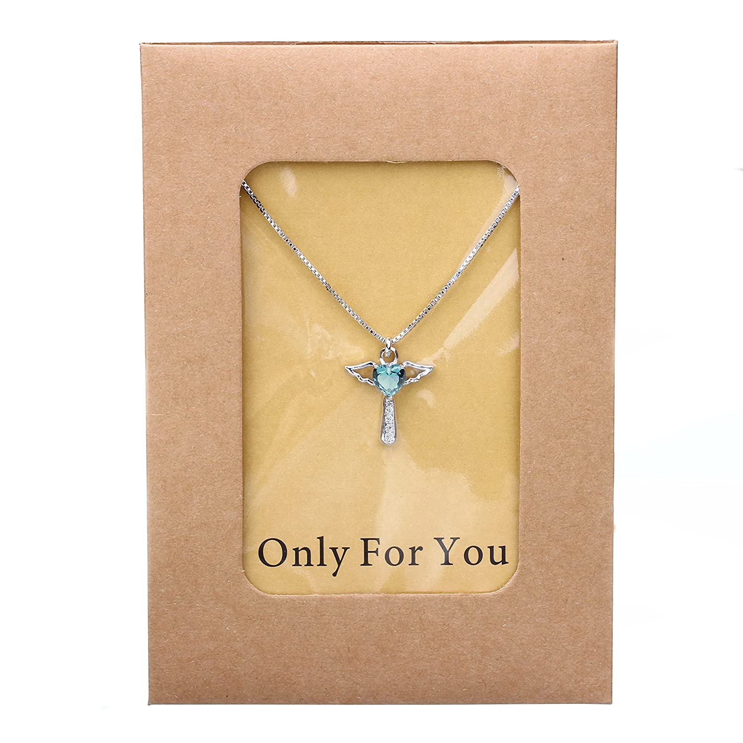 Ckysee Necklaces for Women Girls Cross Cubic Zirconia Angel Wing Birthstone Heart Charm Pendant Necklace