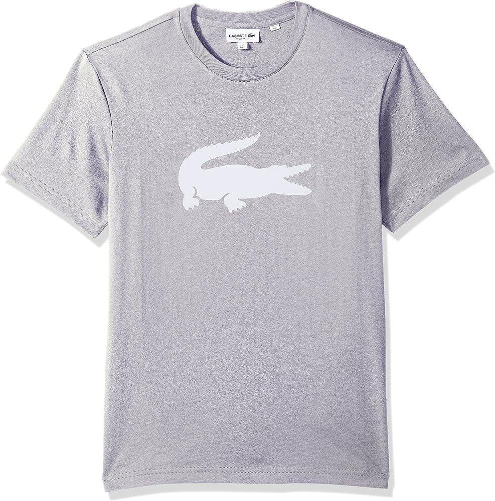Lacoste Mens 2019 Oversized Crocodile Short Sleeve Cotton Blend T-Shirt Black