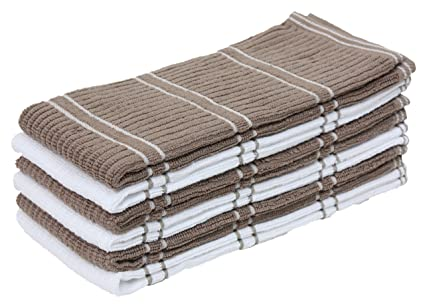 Ju0026M Home Fashions Ribbed Terry Kitchen Dish Towels (16x26 Set Of 6    Assorted Mocha