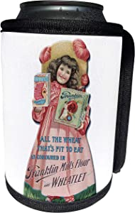 3dRose BLN Vintage Food and Drink Labels and Posters - Vintage Franklin Mills Flour and Wheatlet Girl In Victorian Dress - Can Cooler Bottle Wrap (cc_149269_1)