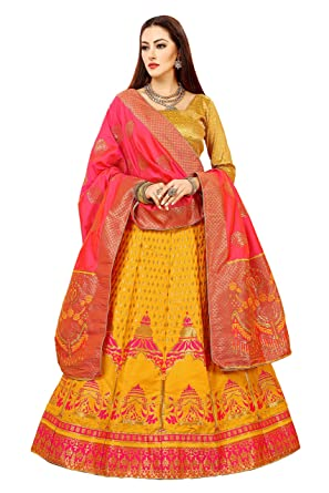 a29efa61be Image Unavailable. Image not available for. Colour: SURUPTA Women's Banarasi  Silk Lehenga Choli (Yellow ...