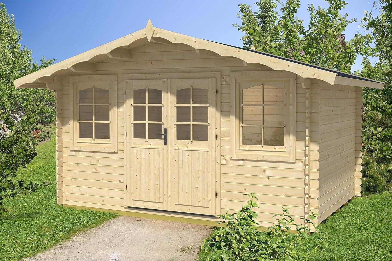 Jardín Casa hoby Nervion Casa de vacaciones bloque madera casa 400 x 300 cm – 28 mm: Amazon.es: Jardín