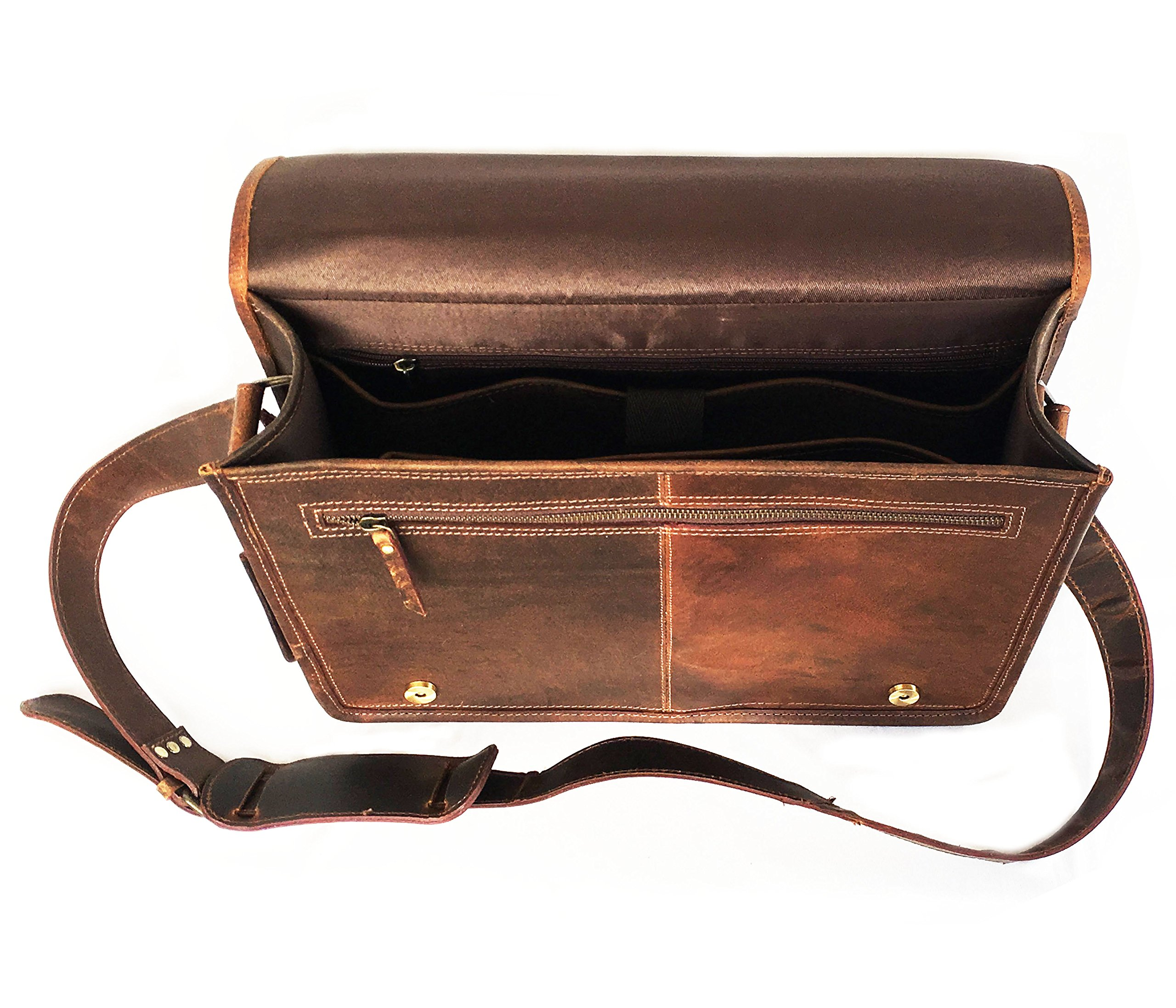 16 Inch Leather Vintage Rustic Crossbody Messenger Courier Satchel Bag Gift Men Women ~ Business Work Briefcase Carry Laptop Computer Book Handmade Rugged & Distressed By KK's Leather by kk's leather (Image #5)