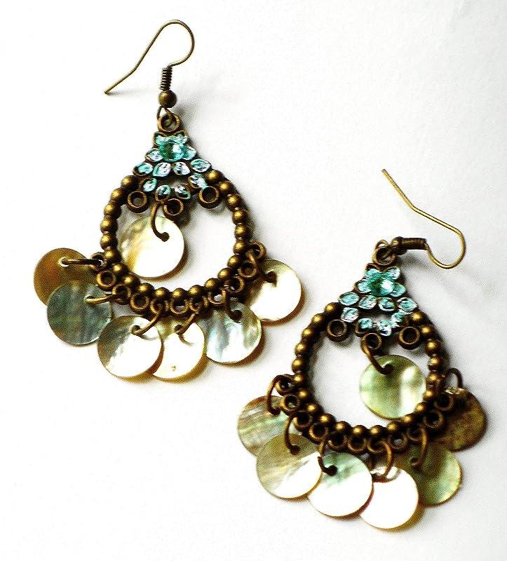 Aqua Blue Chalcedony Chandelier Earrings  Handmade Copper Wire Hoop Earrings  Boho Chic Luxe Jewelry  Bohemian Style Dangle Earrings