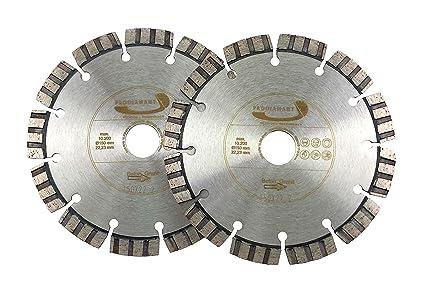 Set de dos piezas PRODIAMANT Premium Diamante Cortamuros Disco cortador LASER TURBO Hormigón 150mm x 22
