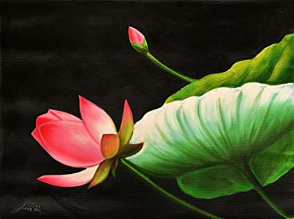 Exotic India Lotus The Divine Flower Oil Painting On Canvas