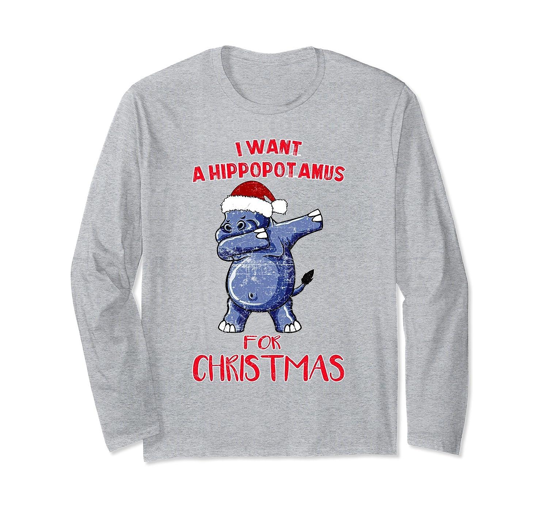 Amazon.com: I Want A Hippopotamus For Christmas Dabbing Hippo TShirt ...
