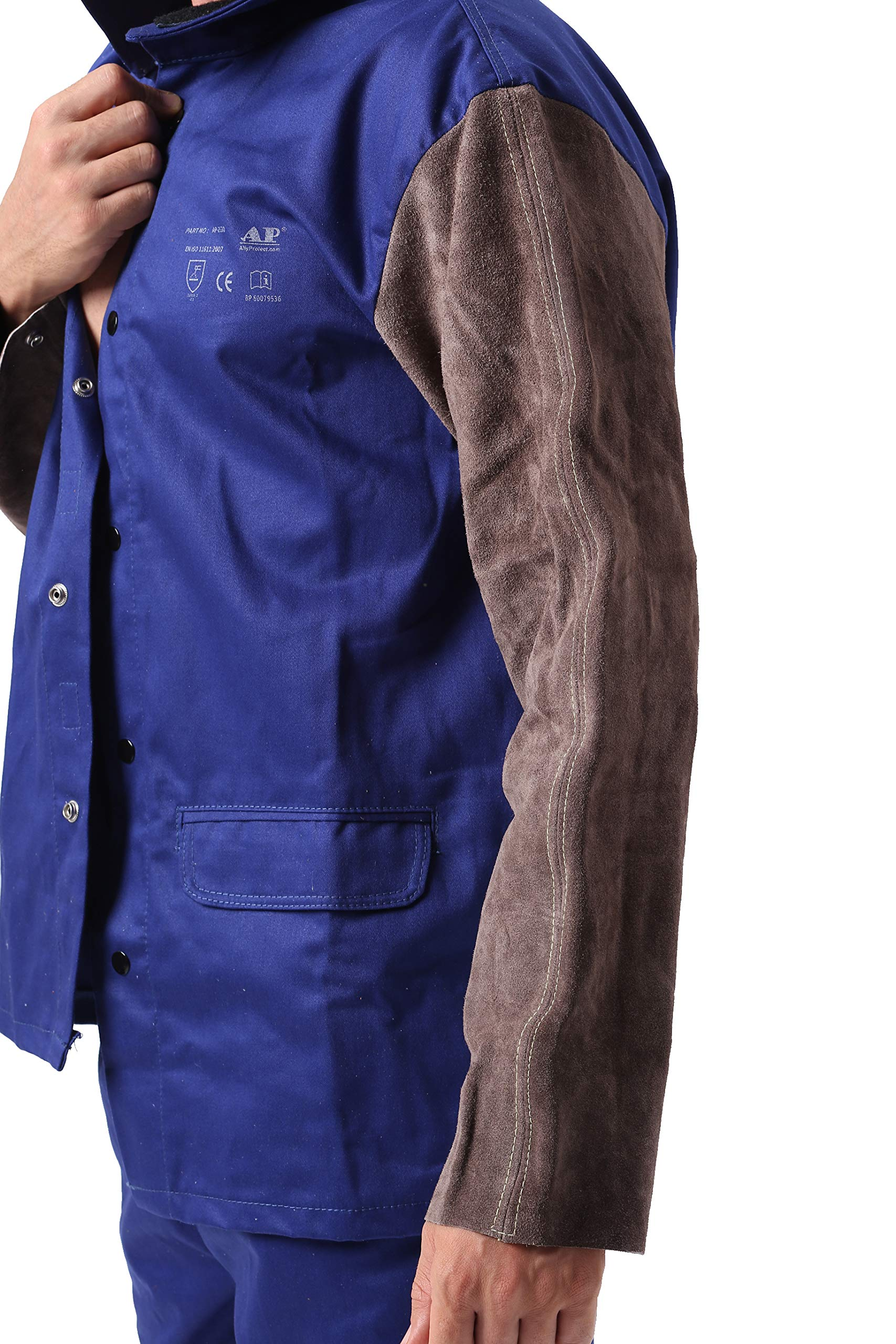 Holulo Welding Jacket with Leather Sleeve for Splash Proof Split Cow Leather Safety Apparel with CE Certiifcation,Blue Flame-Resistant,Heat Resistant Welding Suit by mufly (Image #2)