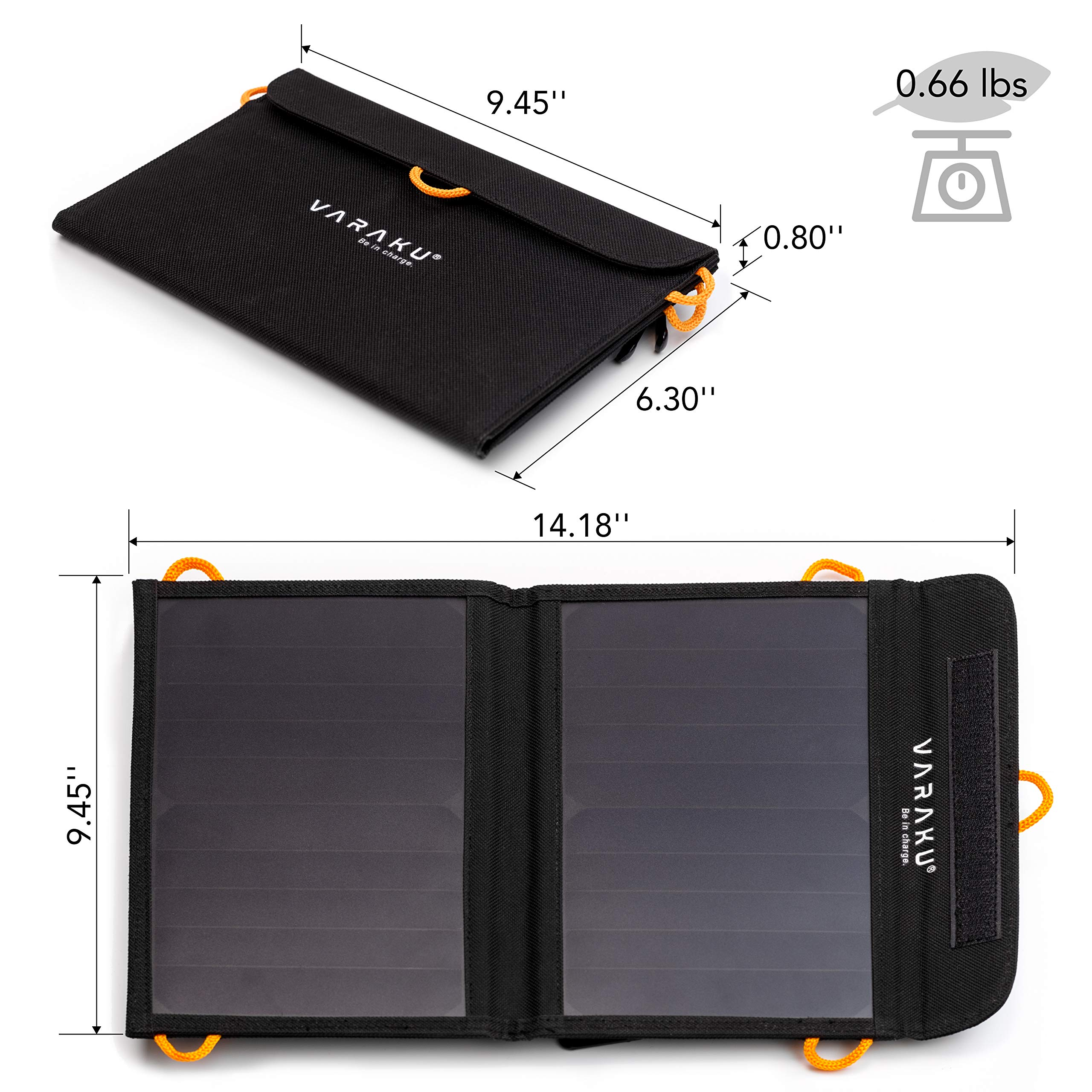 Portable Solar Charger 10W - Dual USB Solar Panel Foldable – Best Power for, iPhone, X, 8, 7, 6s, iPad, Cell Phone Android & Electronic Devices - Waterproof Sun Phone Charger for Camping & Hiking by VARAKU (Image #4)