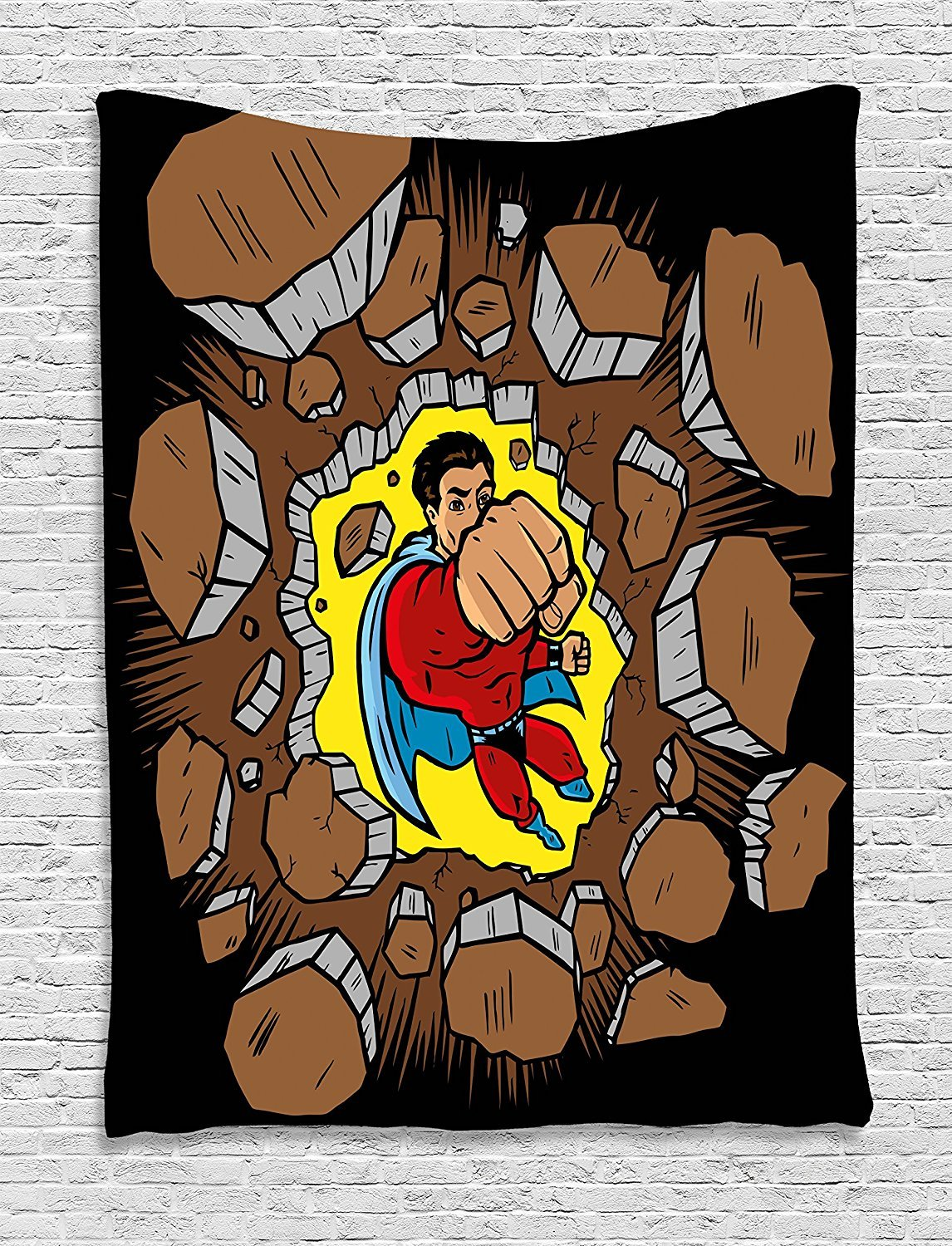 asddcdfdd Superhero Tapestry, Strong Man Smashing the Wall Heroic Punch Success Business Retro Print, Wall Hanging for Bedroom Living Room Dorm, 60 W X 80 L Inches, Caramel Black Yellow