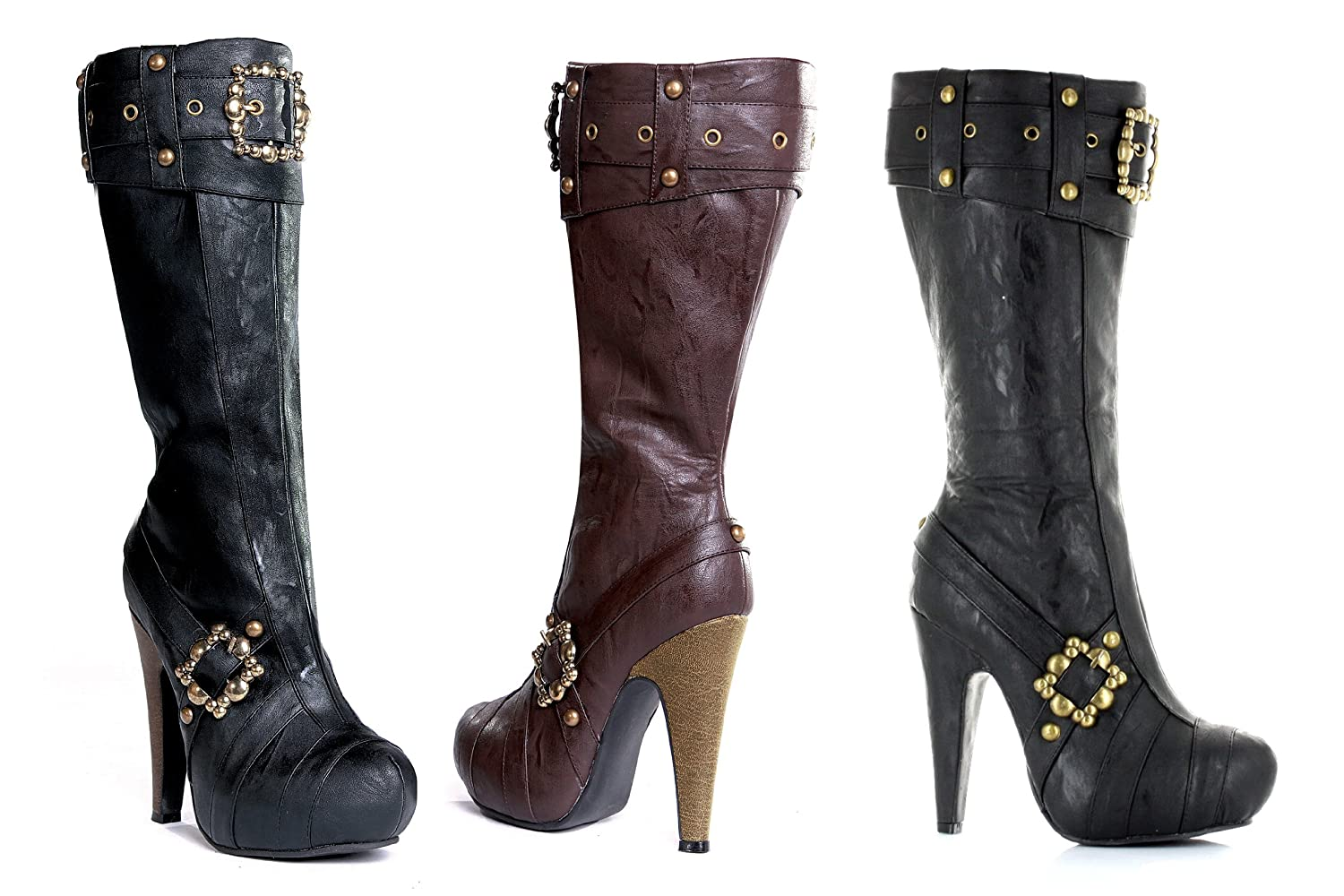 Women's Deluxe Black or Brown Pirate Boots - DeluxeAdultCostumes.com
