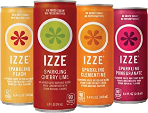IZZE Sparkling Juice, 4 Flavor Sparkling Sunset Variety Pack, 8.4 oz Cans, 24 Count