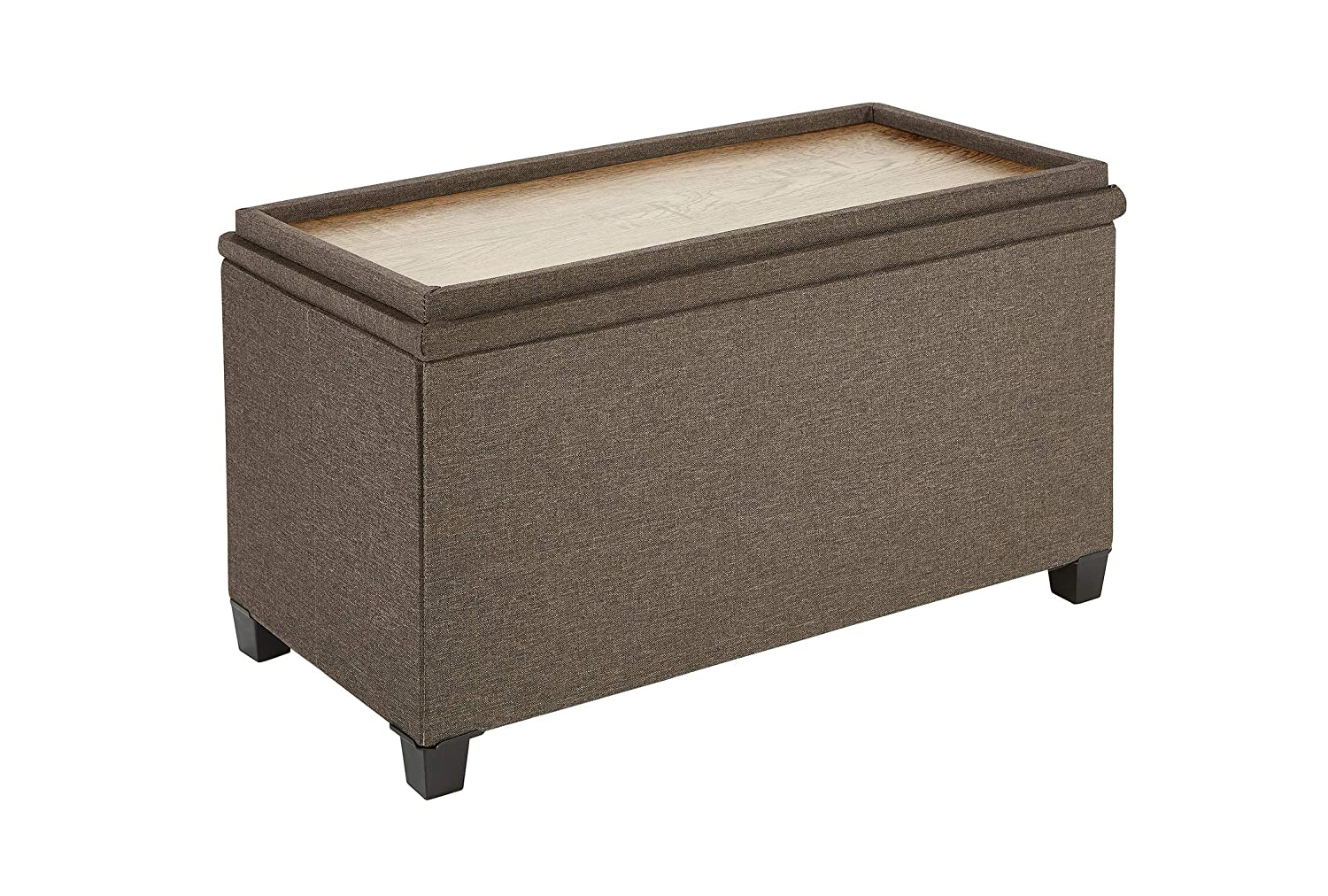 Fresh Home Elements 250089-002 Tray Coffee Table Ottoman with Storage Brown