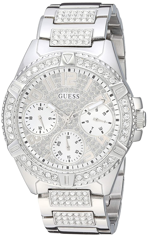 CDM product GUESS Women's Rhinestone Silver-Tone Multifunction Watch big image