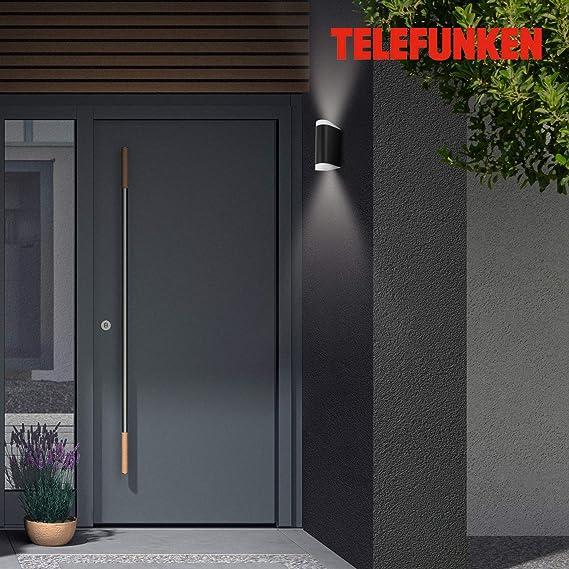 Telefunken – Lámpara LED de pared exterior, 2 x GU10, 10 W, 800 lúmenes, 4000 K, IP44, negro, 190 x 67 x 93 mm: Amazon.es: Iluminación