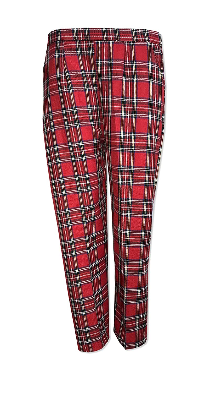 Kirkwood Of Scotland® Ladies Half Elasticated Tartan Check Pocket Trousers Womens Pants Sizes 10-24