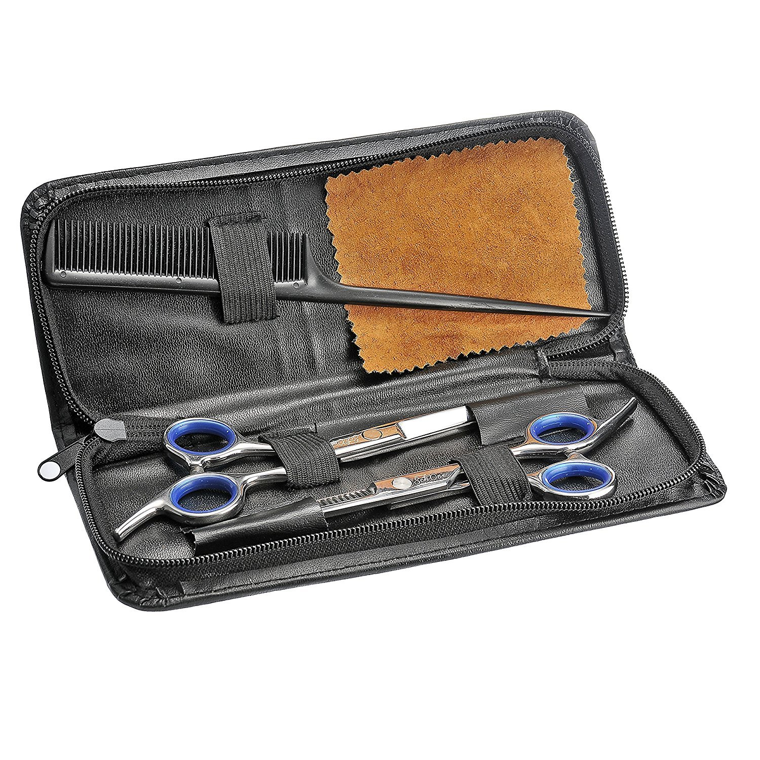 Schöne Professional Hair Cutting Scissors Shears Barber Thinning Set Kit with a Black Leather Case. - Barber Hair Cutting and Thinning/texturizing Scissors/shears Set - 6.5 Overall Length with Fine Adjustment Tension Screw - Japanese Stainless Steel - Sati