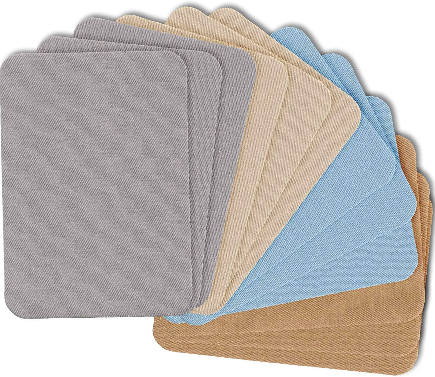 """ZEFFFKA Premium Quality Fabric Iron-on Patches Inside & Outside Strongest Glue 100% Cotton Blue Gray Beige Brown Repair Decorating Kit 12 Pieces Size 3"""" by 4-1/4"""" (7.5 cm x 10.5 cm)"""