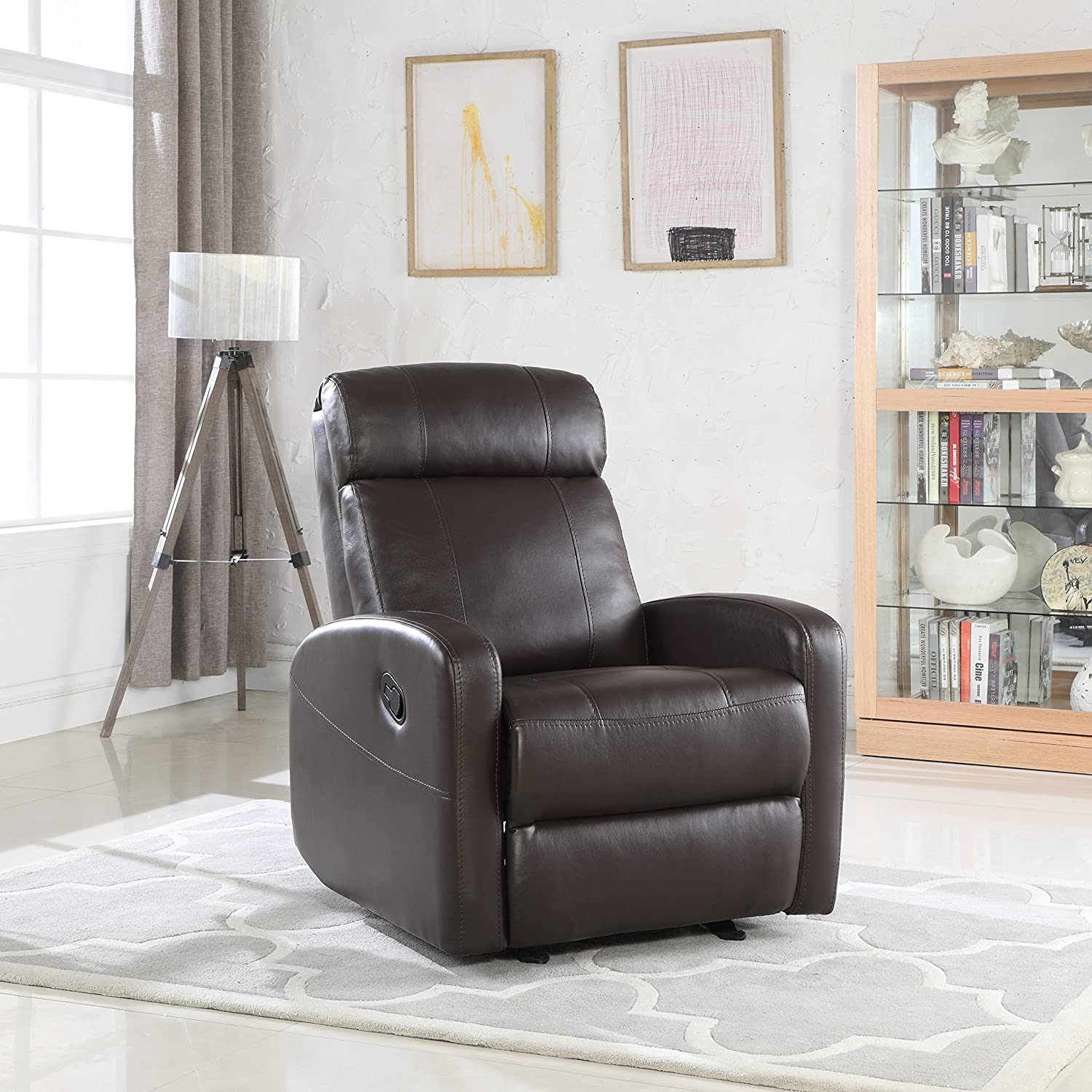 Amazon.com Overstuffed Sleek Modern Living Room Faux Leather Recliner Chair (Brown) Kitchen u0026 Dining & Amazon.com: Overstuffed Sleek Modern Living Room Faux Leather ...