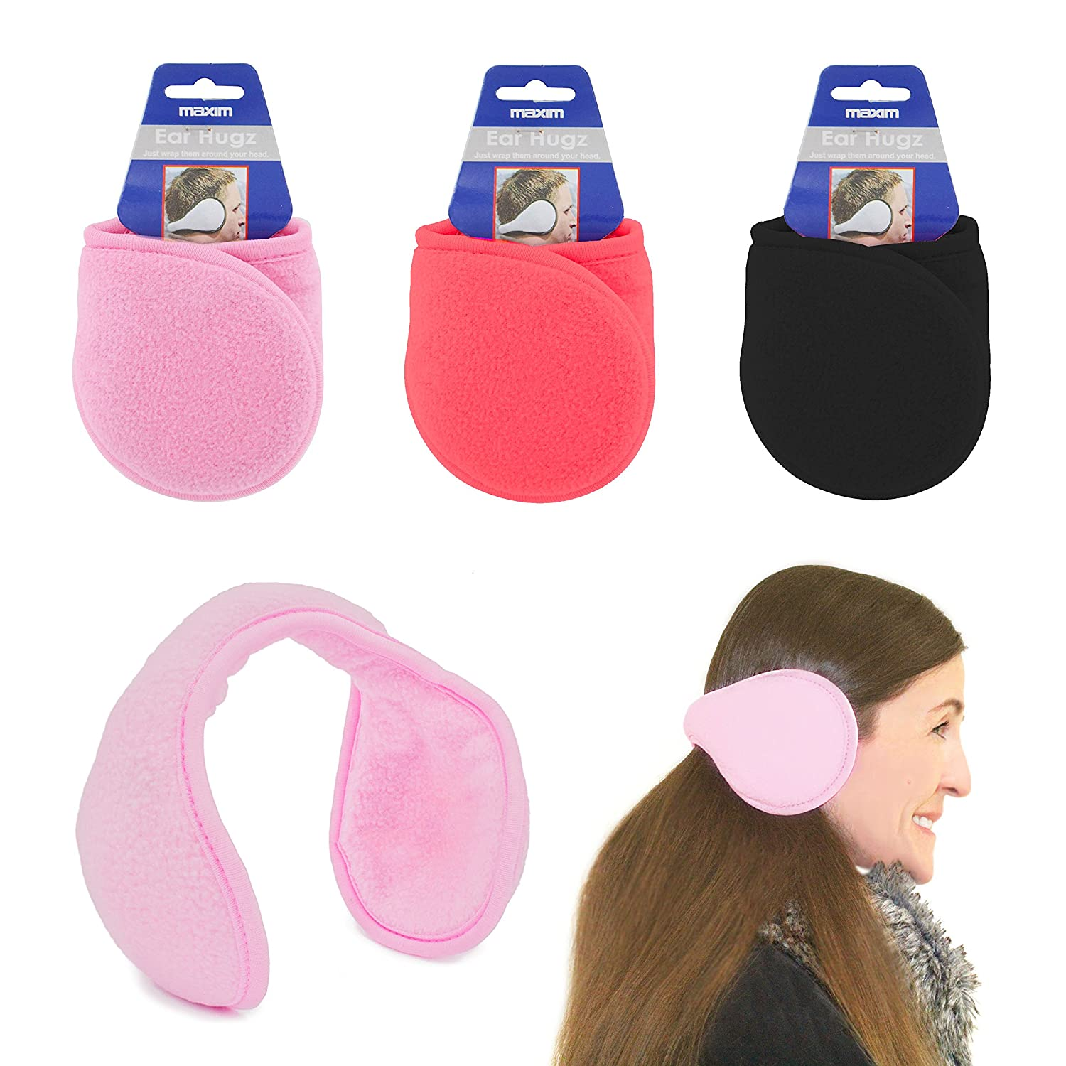 Ear Muffs Wrap around Winter Warmers soft Fleece UKayed ® Winter Warm Ears Various Colour (Red) Globatek UKASNHKTN12539