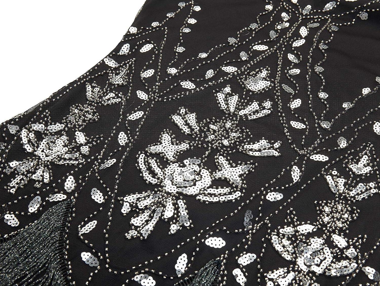 Coucoland 1920s Flapper Sequin Beaded Art Deco Evening Dress Womens 1920s Flapper Dress Great Gatsby Costume