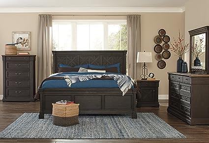 Exceptionnel Tye Creek Casual Black/Gray Color Wood Bedroom Set: Queen Panel Bed, Dresser