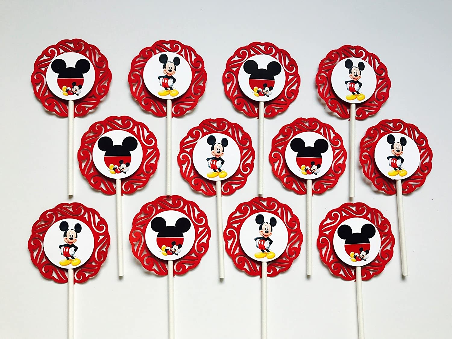 12 MICKEY MOUSE Cupcake Topper - Party Picks - ( 2.5