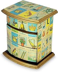 NOVICA Decorative Paper Wood Decoupage Jewelry Box, Blue, Mexican Loteria'