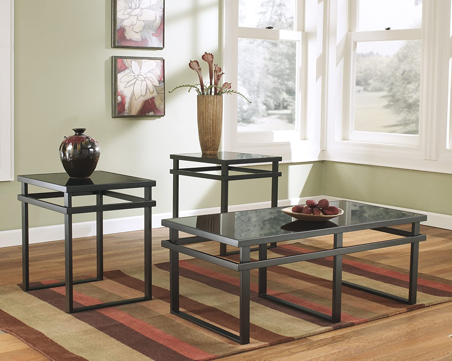 Amazon.com: Lane 3pc Black Metal And Glass Coffee End Table Set: Kitchen U0026  Dining