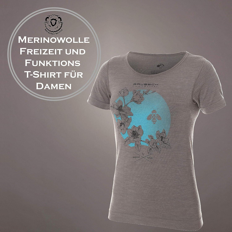 T-Shirt Atmungsaktiv SS12720A Unterhemd 27/% Merino-Wolle Outdoor BRUBECK Damen Kurzarm Funktionsshirt Fitness Thermo Sport